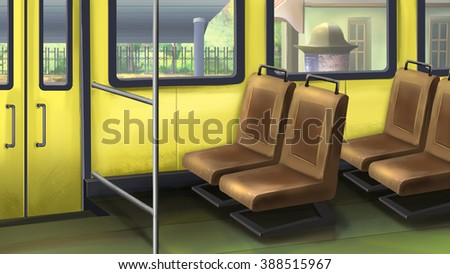 Digital painting of the bus interior.