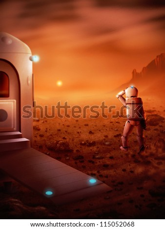 digital painting of the first person to stand on Mars watching a Martian sunrise - stock photo
