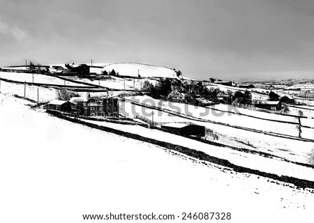 Digital painting of the snow covering the hills above Halifax, West Yorkshire, England, UK - stock photo