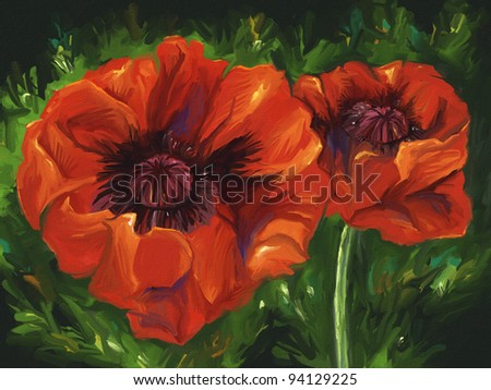 digital painting of vibrant red poppy flowers - stock photo