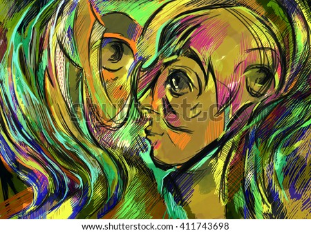 Digital painting Photoshop. Abstracts, the art. The soul of woman - human lines, abstract elements such as metaphor for the theme mind, the human spirit, poetry, inspiration and philosophy - stock photo