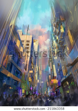 digital painting showing a colorful building - stock photo