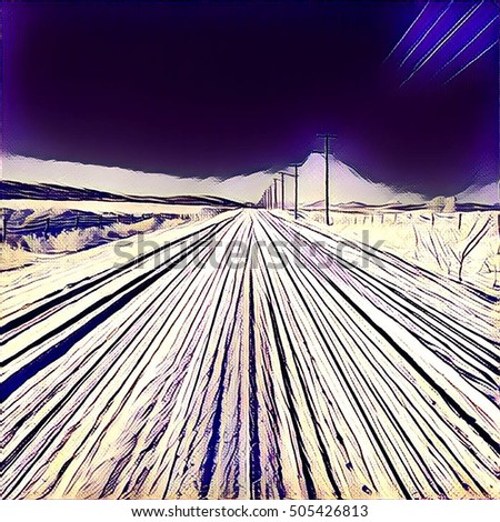 Digital painting - Snowy road in the countryside