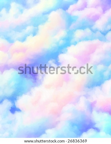 Digital painting - soft surreal clouds - stock photo