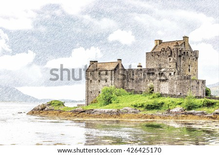 Digital pencil sketch from a photograph of Eilean Donan Castle near the village of Dornie in the highlands of Scotland, founded in the 13th century
