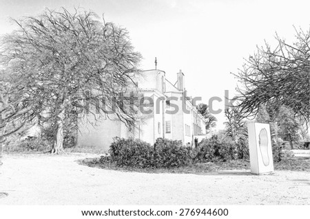 Digital pencil sketch from a photograph of the House For An Art Lover, situated within Bellahouston Park, Glasgow, Scotland, UK - stock photo