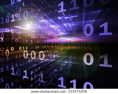 Digital Perspectives series. Arrangement of abstract grids and numbers on the subject of business, science, education and technology - stock photo