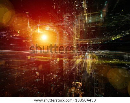 Digital Perspectives series. Creative arrangement of light grids and fractal elements as a concept metaphor on subject of business, science, education and technology