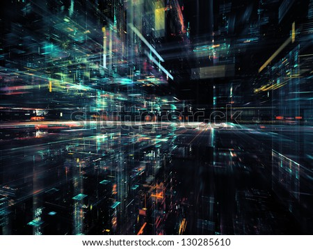 Digital Perspectives series. Design composed of light grids and fractal elements as a metaphor on the subject of business, science, education and technology - stock photo