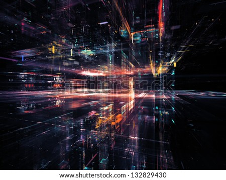 Digital Perspectives series. Design composed of light grids and fractal elements as a metaphor on the subject of business, science, education and technology