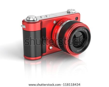 Digital Photo Camera. 3D Icon. - stock photo