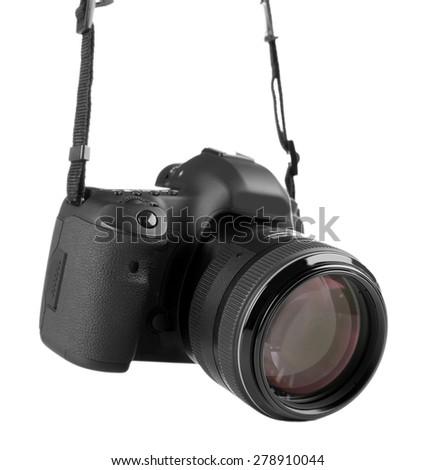 digital photo camera isolated on white - stock photo