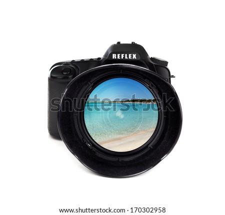 Digital photo camera isolated on white background  - stock photo