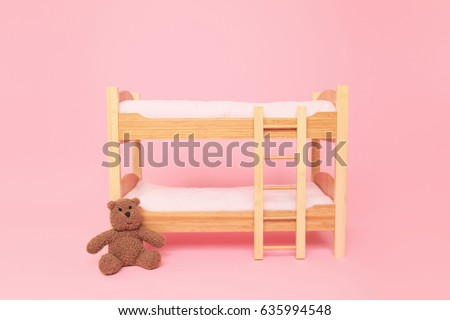 Digital Photography Background Of Newborn Twin Doll Bunkbed Isolated On Pink