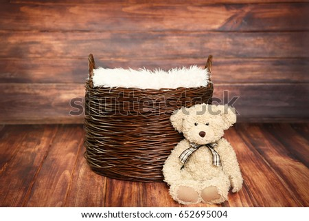 Digital Photography Background Of Rustic Wood Backdrop And Woven Basket With Teddy Bear