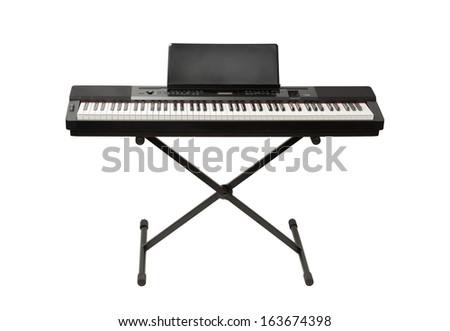 digital piano synthesizer isolated on white - stock photo