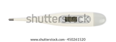 Digital plastic thermometer isolated over the white background