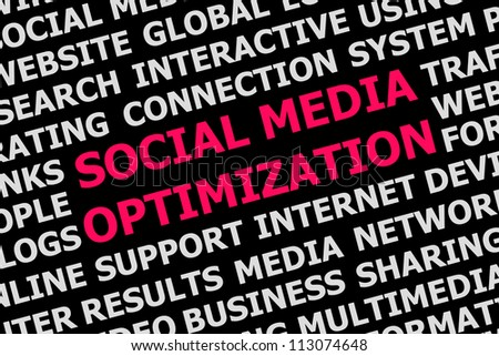 Digital poster social media optimization background concept isolated on black - stock photo