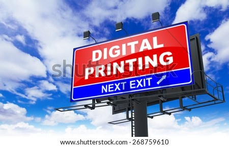 Digital Printing Inscription on Red Billboard on Sky Background. - stock photo