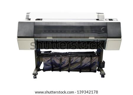 Digital printing machine under the white background - stock photo