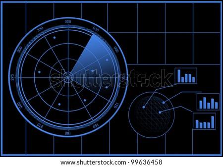 Digital Radar screen - stock photo