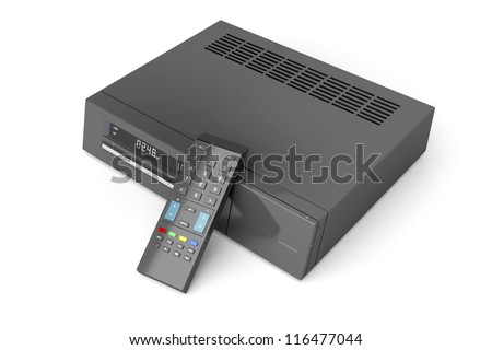 Digital receiver with remote control on white background - stock photo