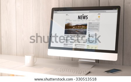 digital render generated workspace with computer and smartphone. News website on the screen. All screen graphics are made up. - stock photo