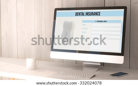digital render generated workspace with computer and smartphone with dental insurance form on the screen. All screen graphics are made up. - stock photo