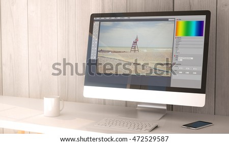 digital render generated workspace with photo editor software on the screen of computer and smartphone. 3d rendering.