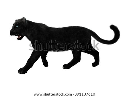Digital render of a big cat black panther isolated on white background