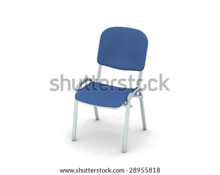 digital render of a metal chair with blue fabric cushion