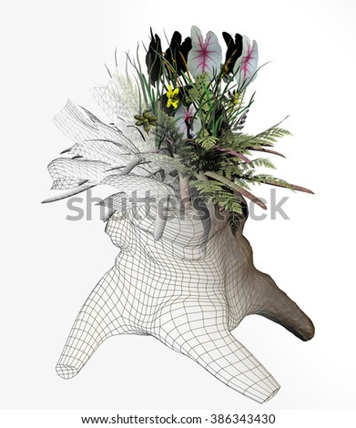 digital rendered illustration of an arrangement of flowers growing out of an old tree stump represented as a finished image emerging from a wire mesh.