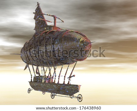 digital rendering of a surrealistic airship - stock photo