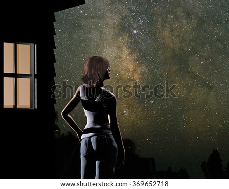 digital rendering of a young woman gazing at the milky way from her house