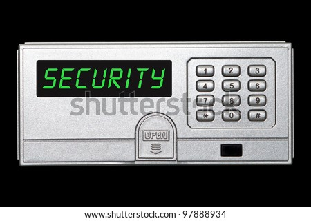 Digital safety deposit box panel with security wording on the screen panel - stock photo