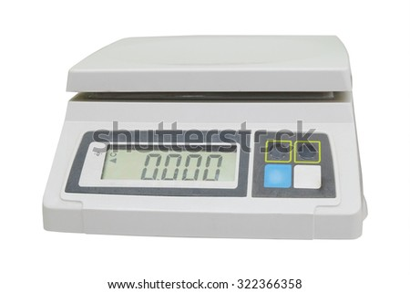Digital scales isolated on white background - stock photo