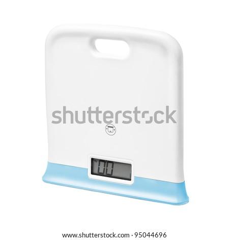 Digital scales on white backgroun - stock photo