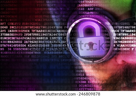Digital security concept with man peeking over secured data flow - stock photo