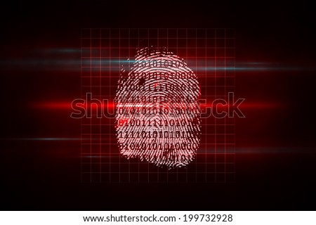 Digital security finger print scan in red and black
