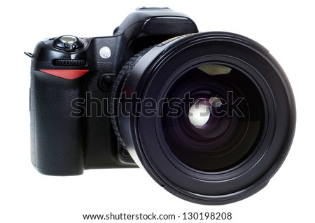 digital single lens reflex camera with zoom lense isolated on white background - stock photo