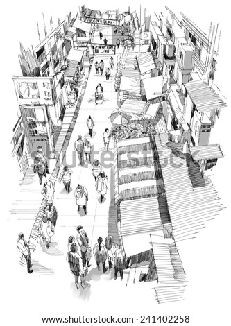 digital sketch of market street.Illustration. - stock photo