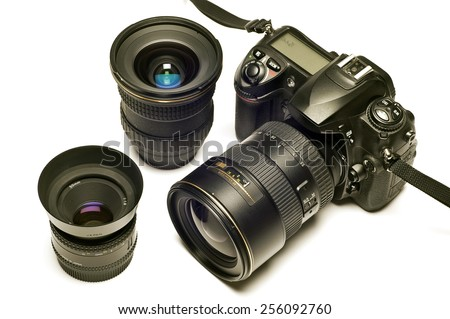 Digital SLR With Lenses On White Background - stock photo