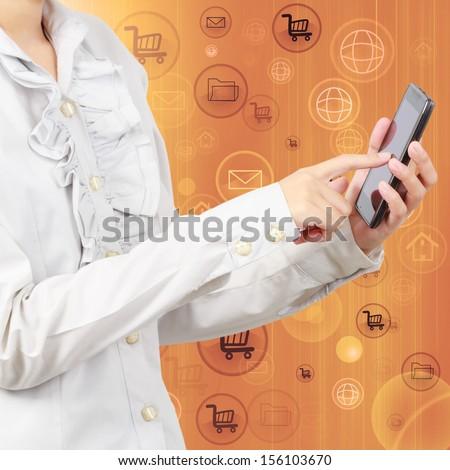digital smartphone in hand, social media icon - stock photo