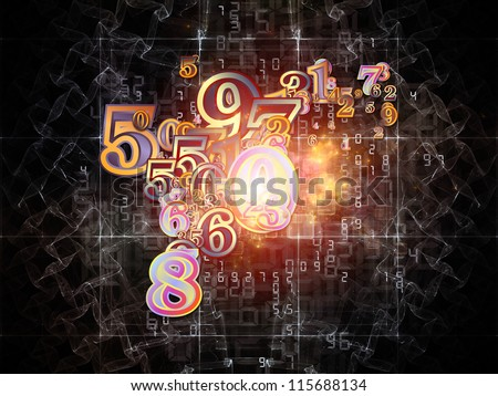 Digital Splash series. Abstract design made of numbers, gradients and fractal elements on the subject of mathematics, computers, science and modern technologies - stock photo