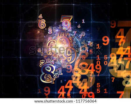 Digital Splash series. Backdrop composed of numbers, gradients and fractal elements and suitable for use in the projects on mathematics, computers, science and modern technologies - stock photo