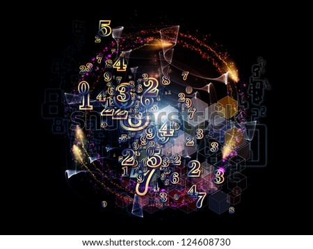 Digital Splash series. Background composition of  numbers, gradients and fractal elements to complement your layouts on the subject of mathematics, computers, science and modern technologies - stock photo