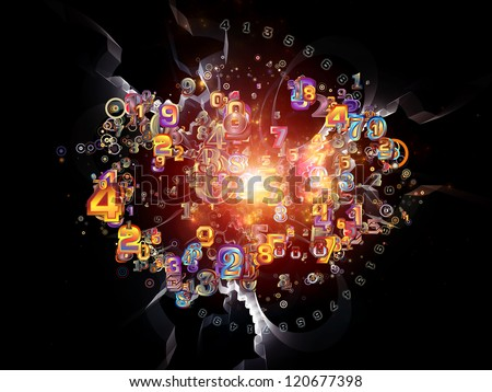 Digital Splash series. Composition of  numbers, gradients and fractal elements to serve as a supporting backdrop for projects on mathematics, computers, science and modern technologies - stock photo