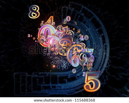 Digital Splash series. Graphic composition of numbers, gradients and fractal elements to serve as backdrop for designs on the subject of mathematics, computers, science and modern technologies - stock photo