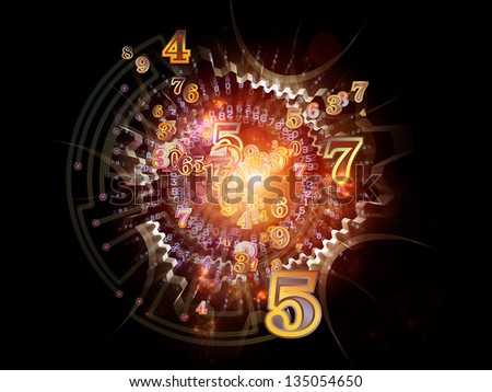 Digital Splash series. Graphic composition of numbers, gradients and fractal elements to serve as complimentary backdrop for designs on the subject of mathematics, computers and modern technologies - stock photo