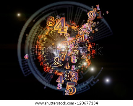 Digital Splash series. Visually attractive backdrop made of numbers, gradients and fractal elements suitable as background for layouts on the subject of mathematics, science and modern technologies - stock photo